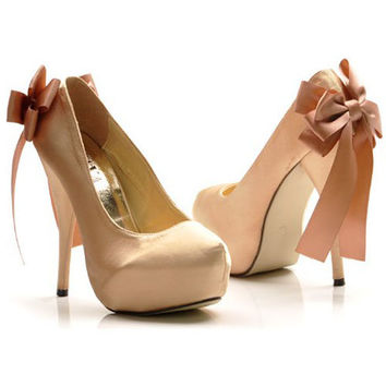 Womens Elegant Stiletto Heels Platform Satin Bow Pumps Shoes Party