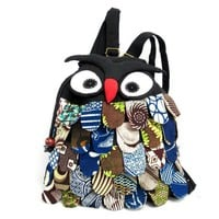 Multi Pattern Owl Canvas Backpack