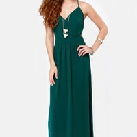 LULUS Exclusive Rooftop Garden Backless Dark Teal Maxi Dress