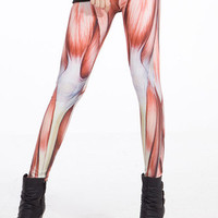 Sexy Muscle Print Stretchy Skiny Leggings Pants LB13297 S/M, L/XL
