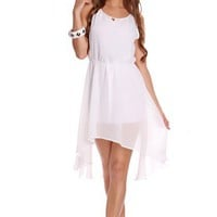 White Sheer Chiffon High Low Hem Sleeveless Dress @ Amiclubwear sexy dresses,sexy dress,prom dress,summer dress,spring dress,prom gowns,teens dresses,sexy party wear,women's cocktail dresses,ball dresses,sun dresses,trendy dresses,sweater dresses,teen clo