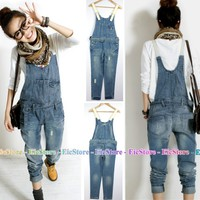 Women Ladies Girl Overall Jumpsuit Cowboy Denim Jeans Pants LP26