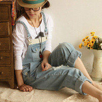 Fashion Retro Casual Frayed Denim Overall Jeans Jumpsuits Rompers Strap Jeans