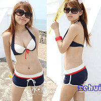 Sexy Swimsuit Boxer Fashion Blue Bikini Set Bathing Suit Hot Springs Suit