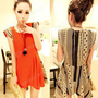 New Fashion Retro Individuality Geometric patterns Shoulder pads Mini Dress