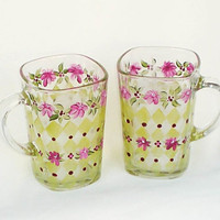 Coffee Tea Mugs  Set of 4 Hand Painted  Moss