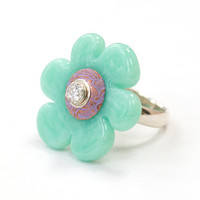 Glass Flower Bead Ring Handmade Lampwork Mint Seafoam Green Purple Sterling Silver Jewelry Customize