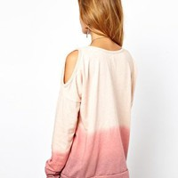 Glamorous Dip Dye Sweatshirt with Cold Shoulder at asos.com