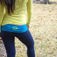 Peacock Lotus Yoga Leggings Blue Turquoise by LycheeGrove on Etsy