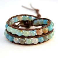 Chunky beach bracelet. Large bead beaded leather wrap