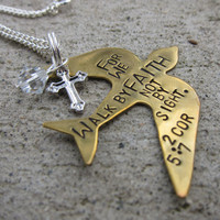 Bible Verse Necklace 2 Cor 5:7 Walk by Faith - Hand Stamped - Made to Order