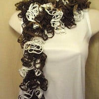 White Brown Lacy Ruffled Spring Summer Fashion Scarf