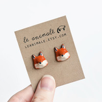 Le Fox Stud Earrings by leanimale on Etsy