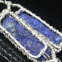 Azurite Druzy Earrings Sterling Silver Basket Weave Bezel All Handmade