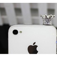 Amazon.com: 3.5mm Crystal Crown Anti Dust Earphone Jack Plug Stopper for Iphone 4 4s (SILVER): Cell Phones & Accessories