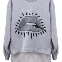 Grey Asymmetric Triangle Sexy Mouth Sweatshirt S192