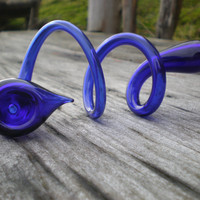 Cobalt Curly Whirly Shirly Glass Pipe by GibsonsGlassworks on Etsy