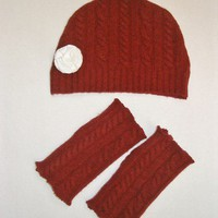 Handmade Wool Texting Gloves and Cloche Hat with Removable Flower