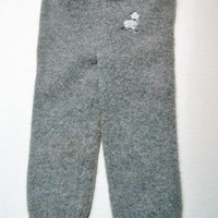 Grey Longies with Embroidered White Cat Size 6-12 mo.