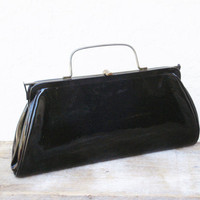 SPECIAL PRICE 1960s Patent Leather Clutch with Brass Fittings and Leather Lining