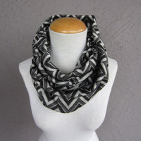 Zigzag Infinity Scarf - Chevron Sweater Knit Scarf - Black and White Infinity Scarf