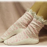 SS1 White Valentine's Day Slipper Sock