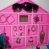 Jewelry hanger organizer jewelry house by StrictlyCute on Etsy