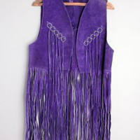 1960's Purple Suede Leather Hippie Fringe Vest - M/L VINTAGE PURPLE SUEDE FRINGE HIPPIE VEST 1960'S :