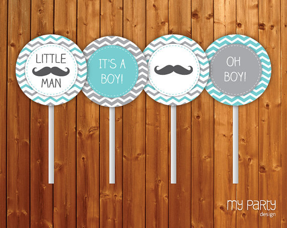 mustache little man baby shower party from mypartydesign on