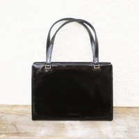 Vintage Black Patent Leather Purse / Saks Fifth Avenue Handbag Made in France
