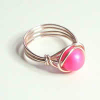 Swarovski Neon Pink Pearl and Gold Wire Wrapped Ring