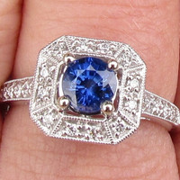 Engagement Ring Fine Blue Sapphire from Ceylon in 14k White Gold and Diamond Accented Setting Wedding Anniversary