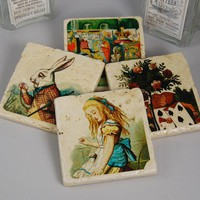 Stone Coaster Set  Alice in Wonderland