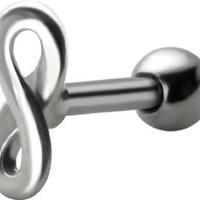 Infinity Cartilage Earring-Infinity Symbol Barbell-Figure 8 Earring with 1/4 inch Stainless Steel Helix Cartilage Barbell Body Jewelry-Available in 18g or 16g (18 gauge): Jewelry: Amazon.com