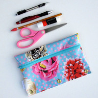 Zipper Pencil Case, Oil Cloth, Binder Pencil Holder, Zipper Case, Blue Floral