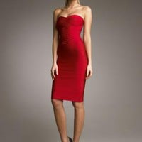Red Strapless Dress - Bqueen Strapless Bandage Dress Red