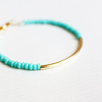 mint gold bar bracelet - minimalist jewelry - friendship bracelet (B014)
