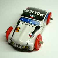 LITTLE TIN POLICE Car 1960s Vintage Made in Japan