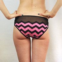 Panties with pink and black chevron print lingerie by knickerocker