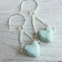 Earrings Rustic Blue Heart   Blue Polymer Clay Earrings by HotMessMomma