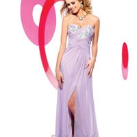 Faviana 2013 Prom - Lilac Strapless Stretch Mesh Prom Dress - Unique Vintage - Cocktail, Pinup, Holiday &amp; Prom Dresses.