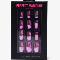 Set of 12 Metallic Stick-On Nails