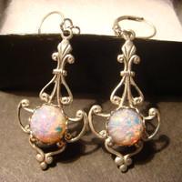 Antique Silver  Victorian Style Fire Opal  Leverback Dangle Earrings (887)