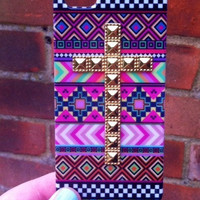 Pink Aztec Tribal Gold Dotted Cross Studded Matte iPhone 4 4S Phone Case