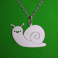 Happy Snail Necklace by marymaryhandmade on Etsy