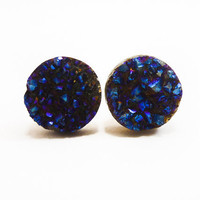 Cobalt Blue Flame Druzy Stud Earrings n41 by AstralEYE on Etsy