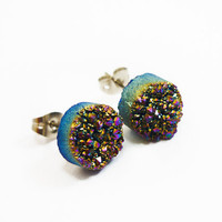 Rainbow Flame Druzy Stud Earrings n5 Larger size by AstralEYE