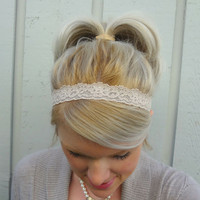 Nude stretch lace headband - thin headband - romantic - classic - boho