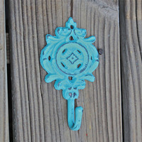 Wall Hook /Bright Aqua Blue /Cast Iron Metal by AquaXpressions