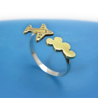 Airplane Flying Cloud Sterling silver and brass by MIKOTITI
